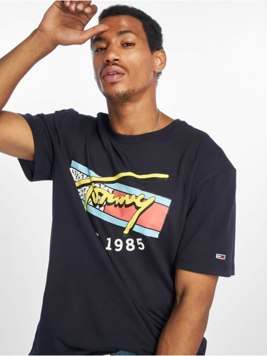 Tommy Jeans T-skjorter Neon Script blå
