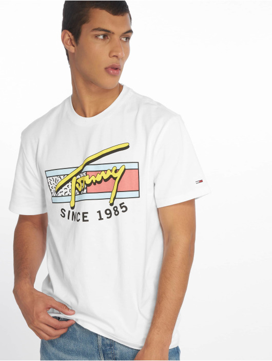 Tommy Jeans T-skjorter Neon Script hvit