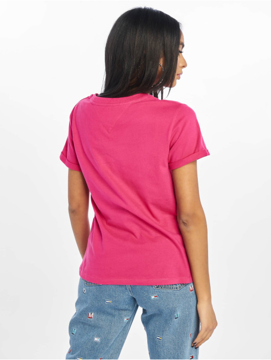 Tommy Jeans T-skjorter Relaxed Roll Up lyserosa