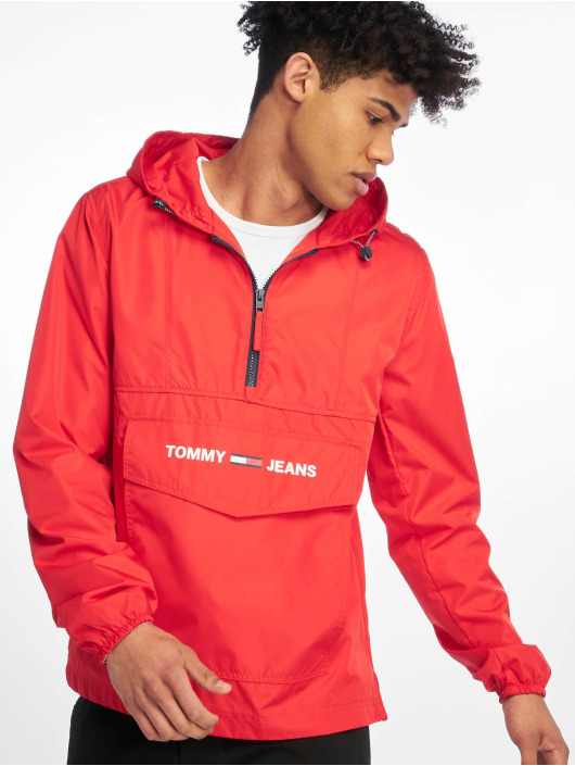 Tommy Jeans Transitional Jackets Nylon Shell Solid Popover red