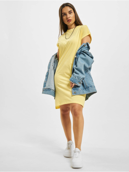 Urban Classics Šaty Ladies Turtle Extended Shoulder žltá