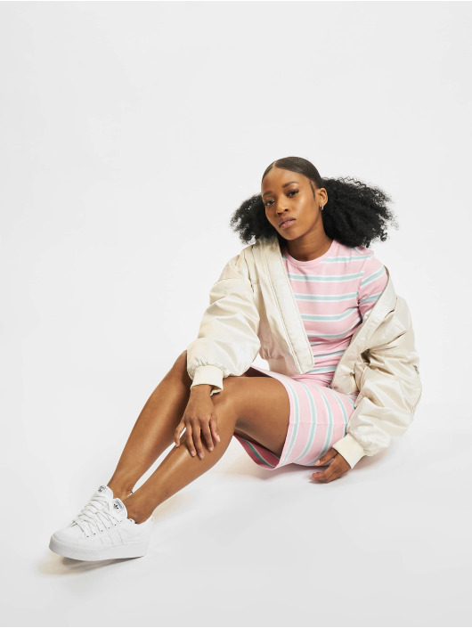 Urban Classics Šaty Stretch Stripe ružová