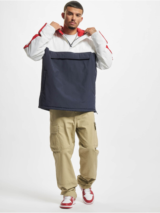 Urban Classics Демисезонная куртка 3-Tone Padded Pull Over Hooded синий