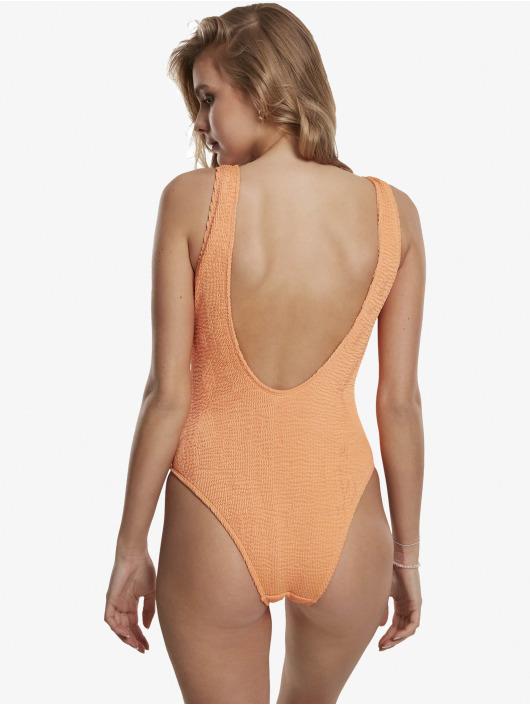 Urban Classics Badeanzug Crinkle High Leg orange