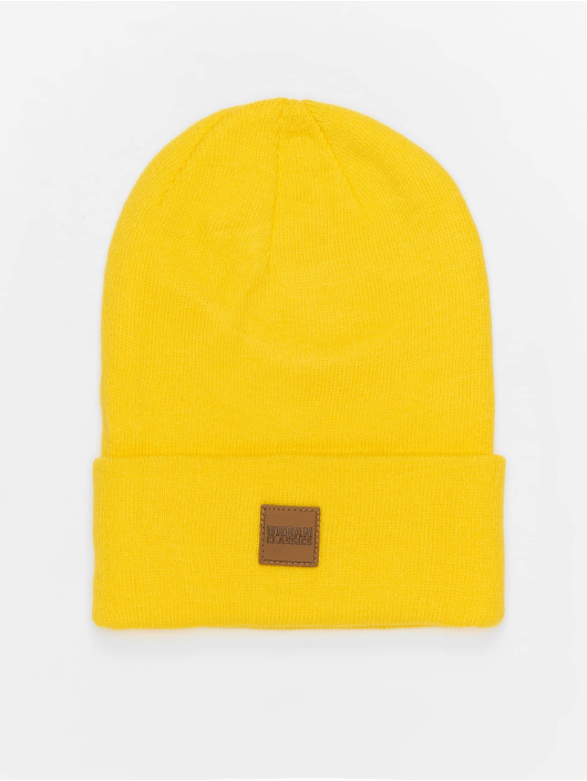 Urban Classics Beanie Leather Patch Long gelb