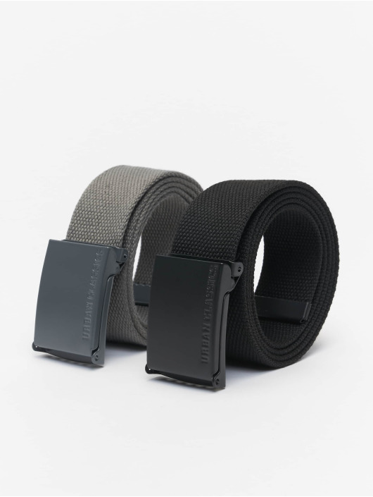 Urban Classics Belt Colored Buckle Canvas 2-Pack grey