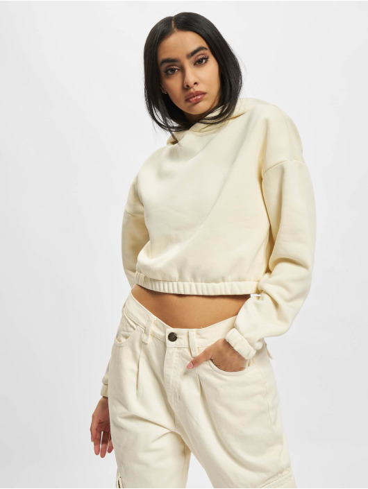 Urban Classics Bluzy z kapturem Ladies Short Oversized Sweat bezowy