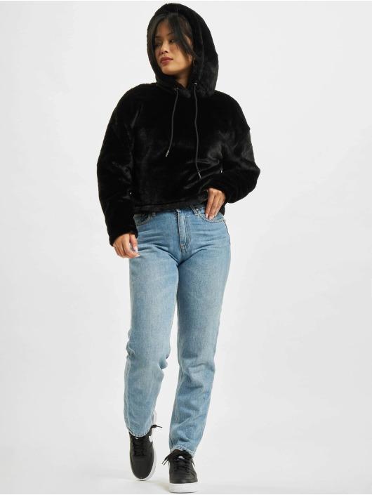 Urban Classics Bluzy z kapturem Oversize Short Teddy czarny