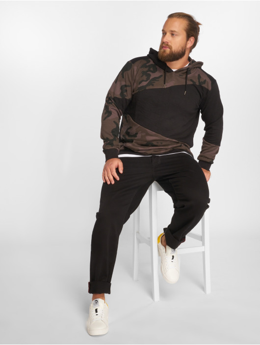 Urban Classics Bluzy z kapturem Camo Zig Zag czarny