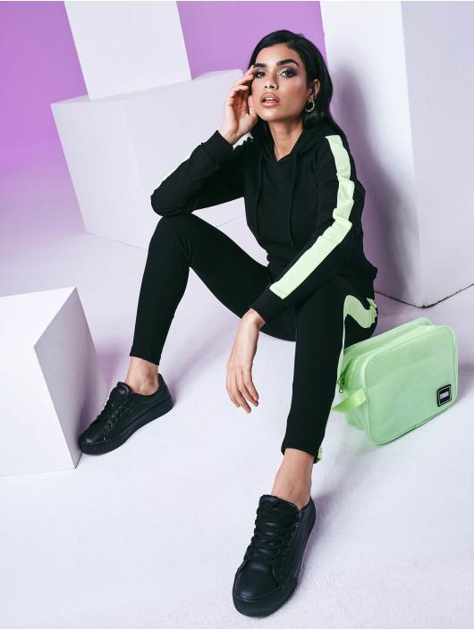 Urban Classics Bluzy z kapturem Ladies Neon Shoulder Stripe czarny