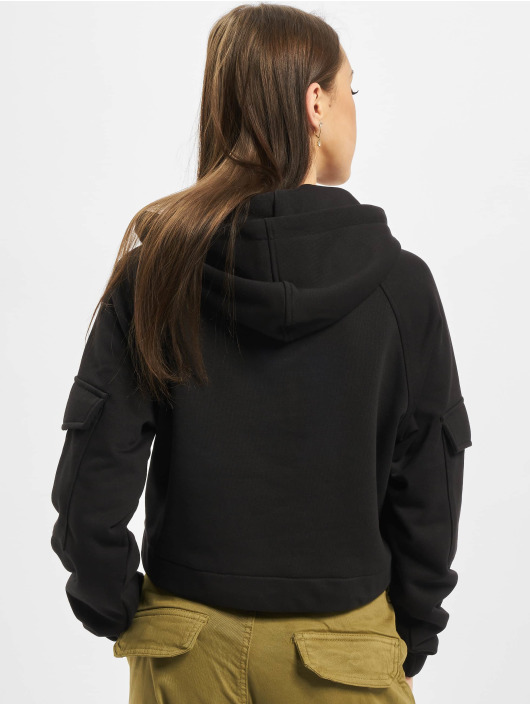 Urban Classics Bluzy z kapturem Ladies Short Worker czarny