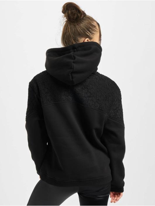 Urban Classics Bluzy z kapturem Lace Inset czarny