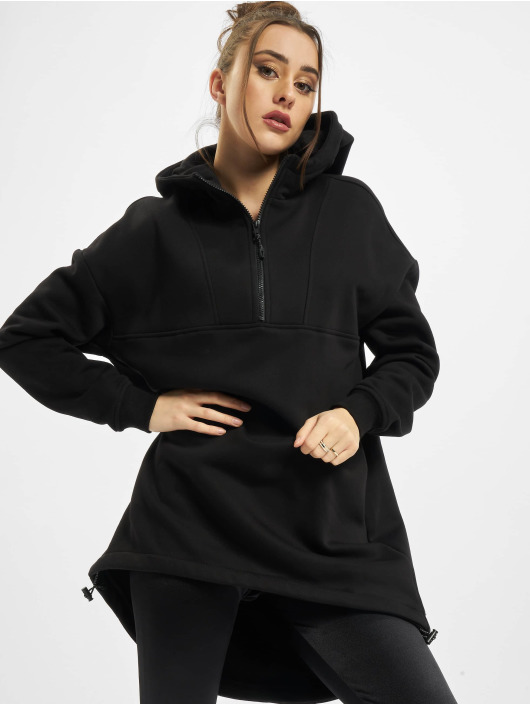 Urban Classics Bluzy z kapturem Ladies Long Oversized Pull Over czarny