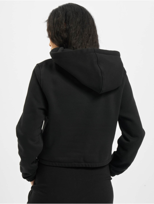 Urban Classics Bluzy z kapturem Ladies Contrast Drawstring czarny