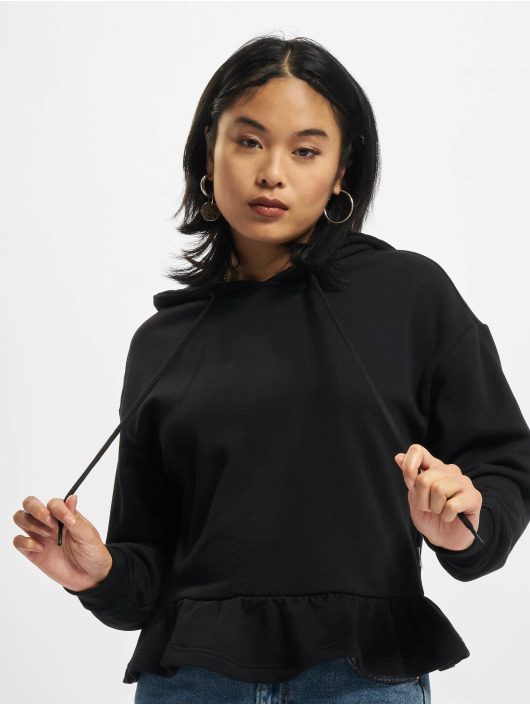 Urban Classics Bluzy z kapturem Ladies Organic Volants czarny