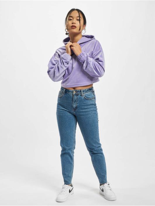 Urban Classics Bluzy z kapturem Ladies Cropped Velvet fioletowy
