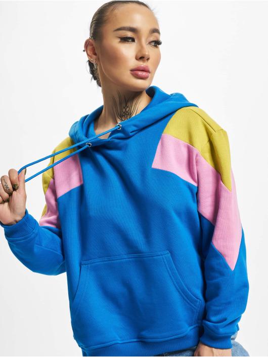Urban Classics Bluzy z kapturem Oversize 3-Tone Block niebieski
