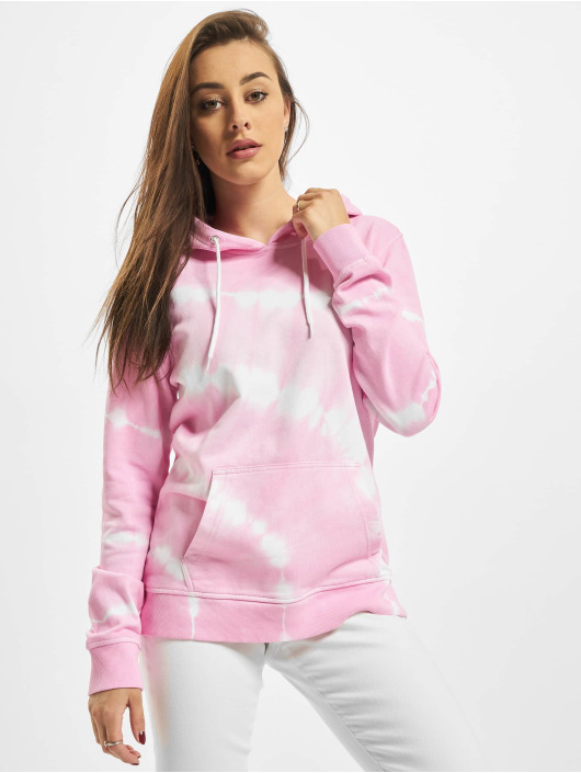 Urban Classics Bluzy z kapturem Ladies Tie Dye pink