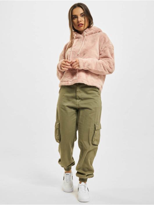 Urban Classics Bluzy z kapturem Oversize Short Teddy rózowy