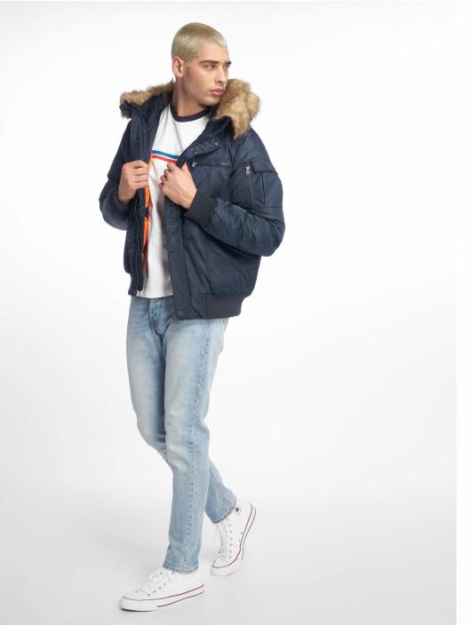 Urban Classics Bomber jacket Hooded Heavy Fake Fur blue
