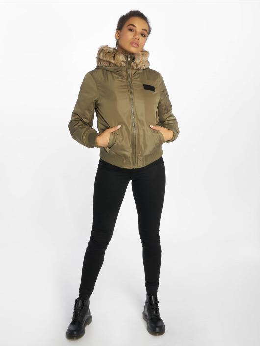 Urban Classics Bomber jacket Imitation Fur olive