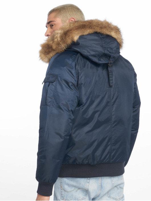 Urban Classics Bomberjack Hooded Heavy Fake Fur blauw