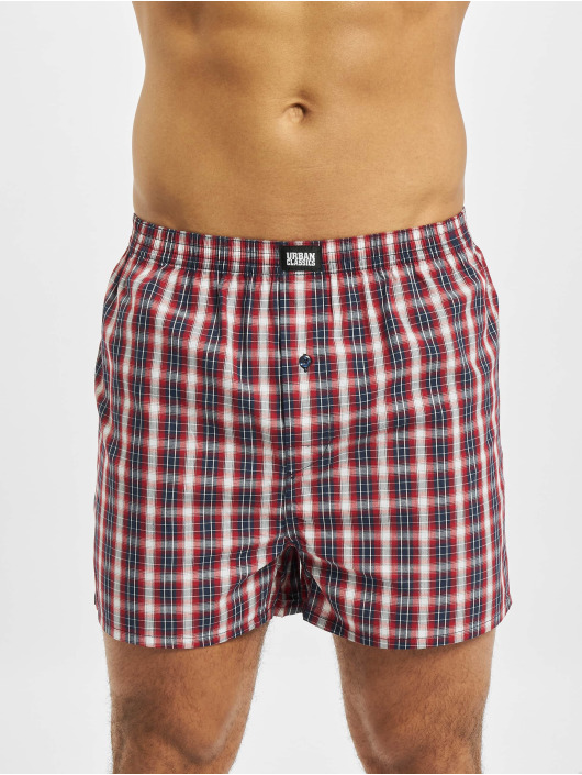 Urban Classics Boxer Woven Plaid  2-Pack rosso
