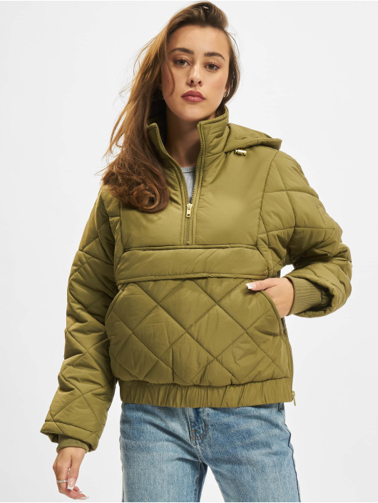 Urban Classics Bundy na přechodné roční období Ladies Oversized Diamond Quilted olivový