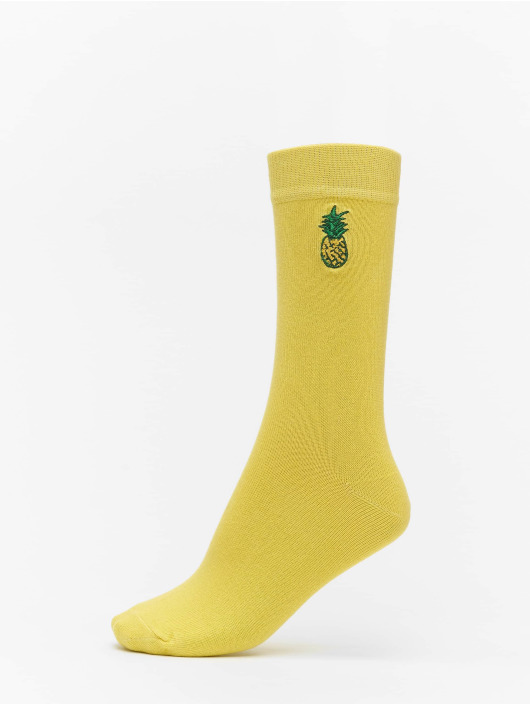 Urban Classics Calcetines Fun Embroidery Socks 3-Pack amarillo