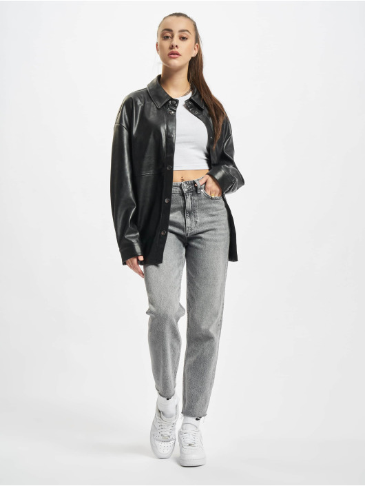 Urban Classics Camicia Ladies Faux Leather nero