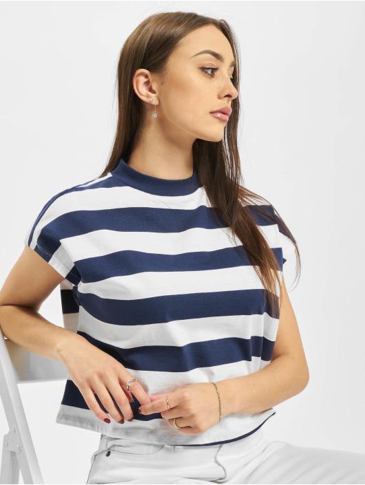 Urban Classics Camiseta Ladies Stripe Short azul