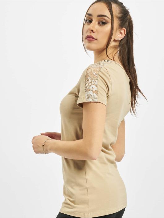 Urban Classics Camiseta Ladies Lace Shoulder Striped Tee beis