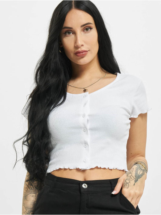 Urban Classics Camiseta Cropped Button Up Rib blanco