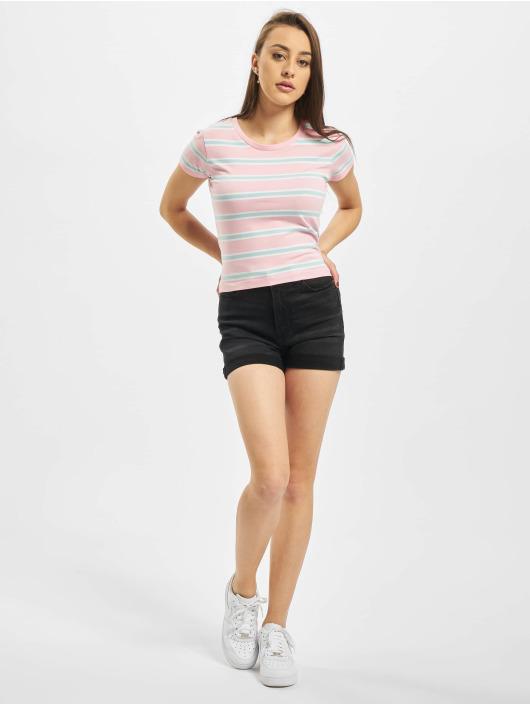 Urban Classics Camiseta Ladies Stripe Cropped fucsia