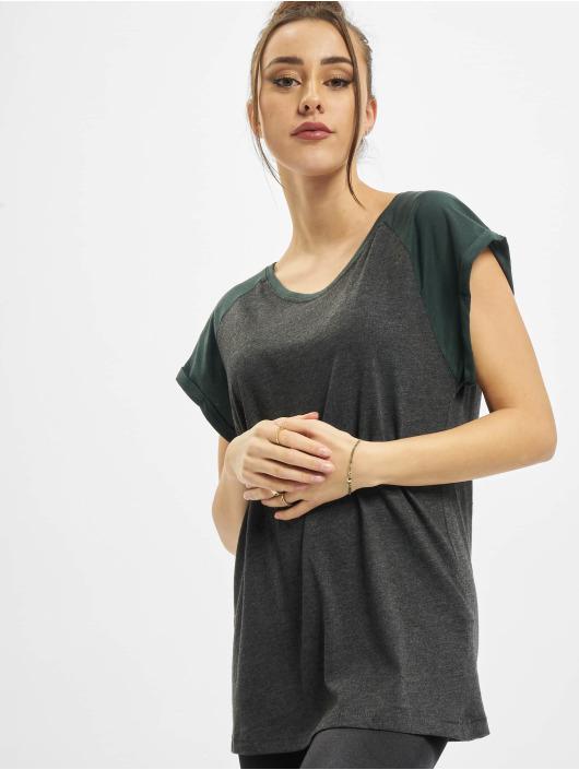 Urban Classics Camiseta Ladies Contrast Raglan gris