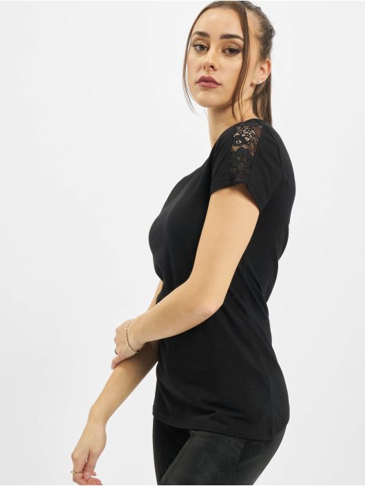 Urban Classics Camiseta Ladies Lace Shoulder Striped Tee negro