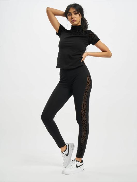Urban Classics Camiseta Ladies Flock Lace Turtleneck Tee negro
