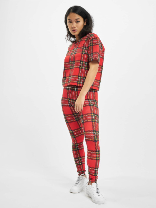 Urban Classics Camiseta Ladies AOP Tartan Short Oversized Tee rojo