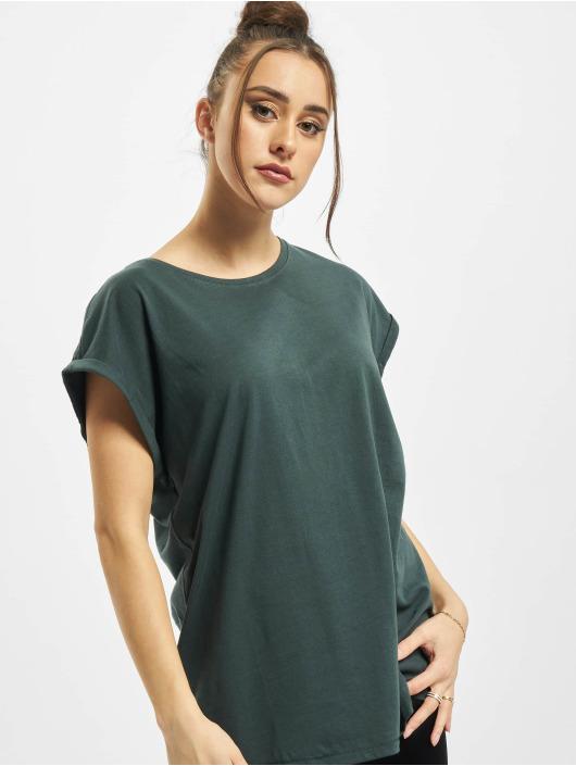 Urban Classics Camiseta Ladies Extended Shoulder verde