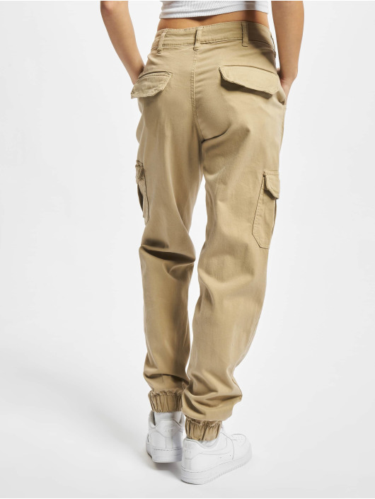 Urban Classics Cargo pants Ladies High Waist brun