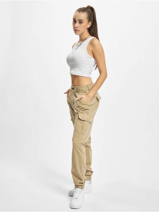 Urban Classics Cargo pants Ladies High Waist hnědý