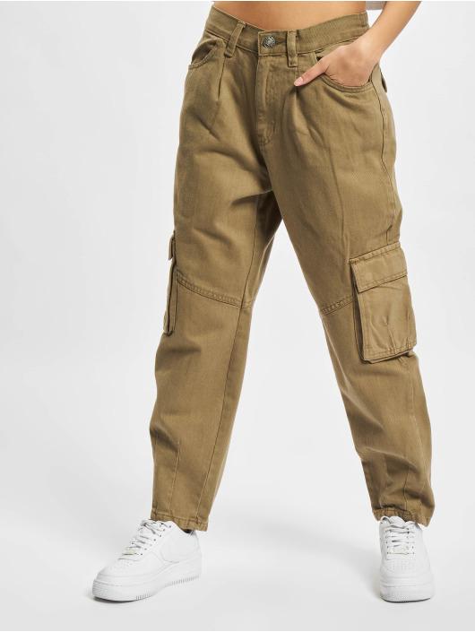 Urban Classics Cargo pants Ladies Ballon Fit hnědožlutý
