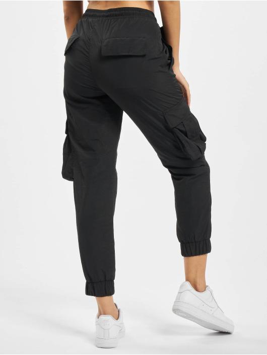 Urban Classics Cargobuks Ladies High Waist Crinkle Nylon sort