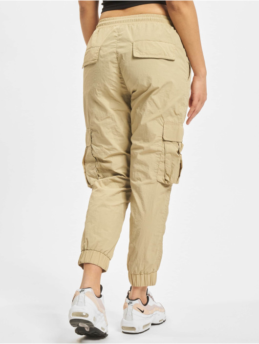 Urban Classics Cargohose Ladies High Waist Crinkle Nylon braun