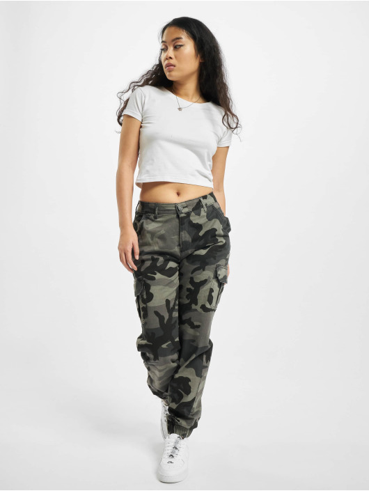 Urban Classics Cargohose Ladies High Waist camouflage