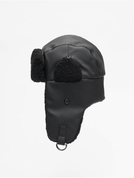 Urban Classics Chapeau Imitation Leather Trapper noir
