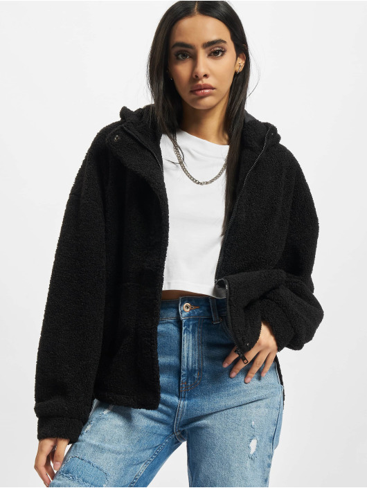 Urban Classics Chaqueta de entretiempo Ladies Short Sherpa negro