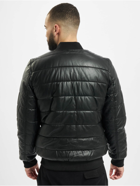 Urban Classics Chaqueta de invierno Faux Leather Bubble negro