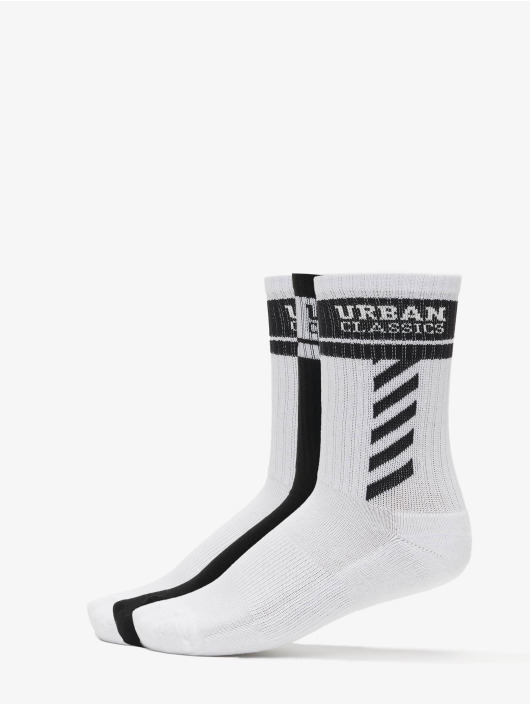 Urban Classics Chaussettes Sporty Logo Socks 3-Pack blanc