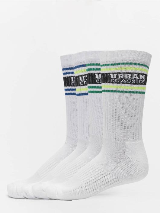 Urban Classics Chaussettes Logo Stripe 4-Pack blanc